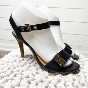 Brooks Brothers Buckle Leather Heels Black Gold 7M
